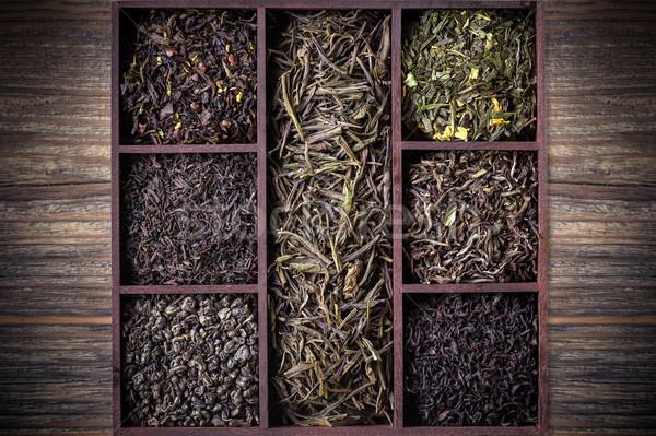 Drogen thee bladeren houten Stockfoto © grafvision