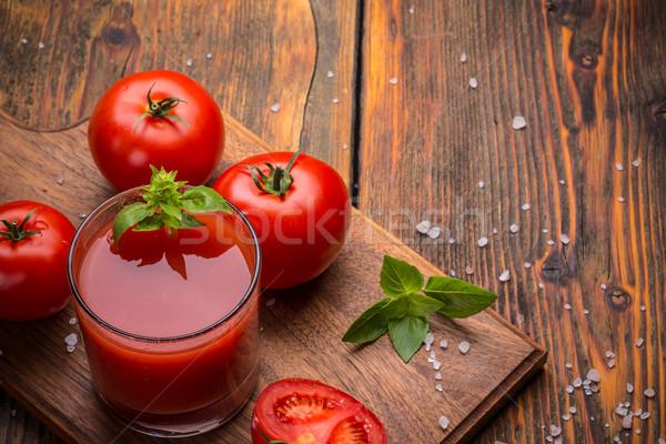 Tomatensap glas vintage houten tafel tabel studio Stockfoto © grafvision