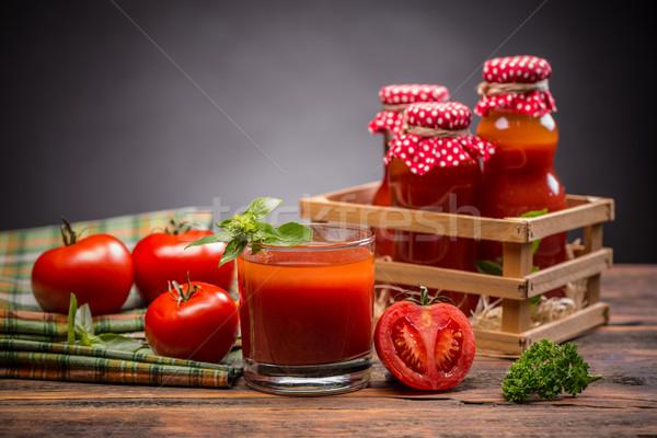 トマトジュース ガラス おいしい 新鮮な トマト 木製のテーブル ストックフォト © grafvision