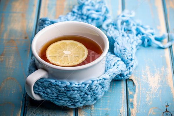 ホット 茶碗 冷ややかな 冬 日 背景 ストックフォト © grafvision