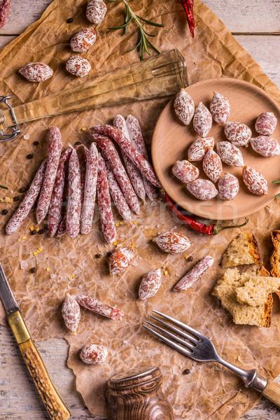 Salami haut vue poivre saucisse italien Photo stock © grafvision