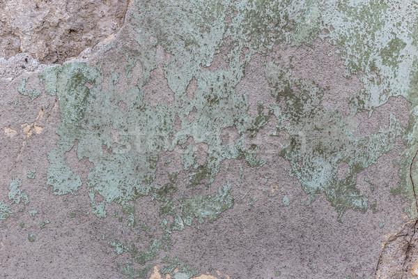 Rongyos tapasz fal zöld mintázott textúra Stock fotó © grafvision