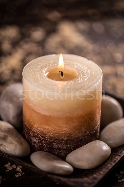 Stenen brandend kaars gezondheid geneeskunde Stockfoto © grafvision