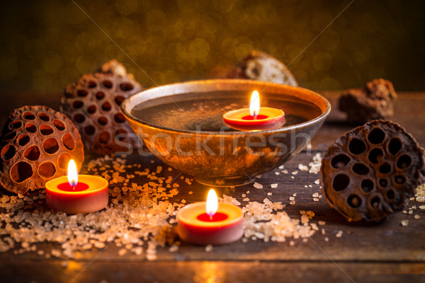 芳香族の キャンドル 表 スパ 火災 健康 ストックフォト © grafvision