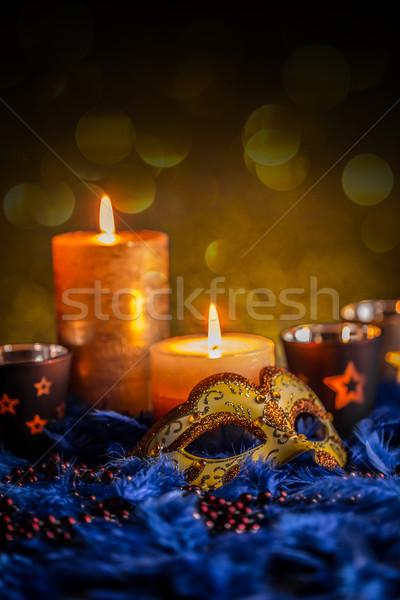 Klasszikus velencei maszk világítás gyertya buli maszk Stock fotó © grafvision