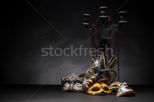 Carnaval máscara castiçal colar fundo plástico Foto stock © grafvision