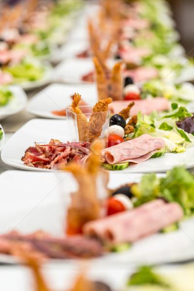 закуска пластин ветчиной креветок вечеринка ресторан Сток-фото © grafvision