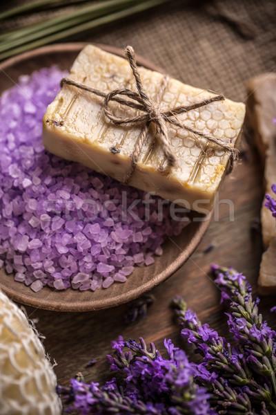 Szappan fürdősó bár természetes levendula virág Stock fotó © grafvision