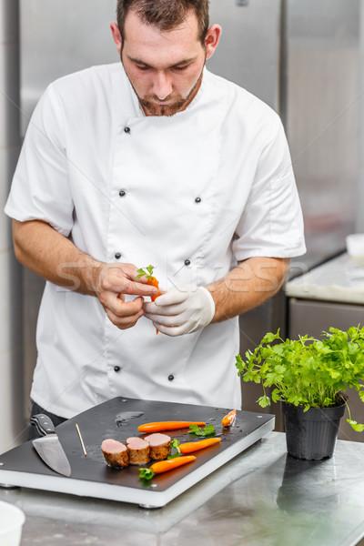 Chef communie jonge fine dining schotel Stockfoto © grafvision