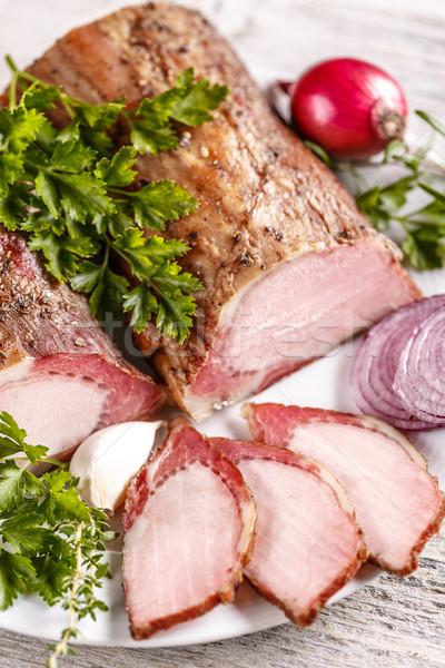 Foto stock: Ahumado · picante · cerdo · lomo · rebanadas · cebolla