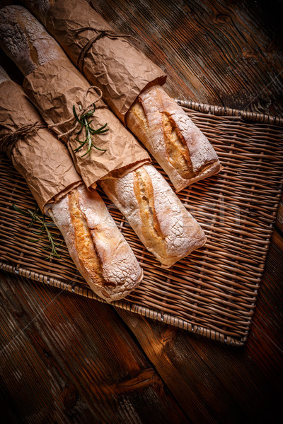 Freshly baked traditional baguettes Stock photo © grafvision