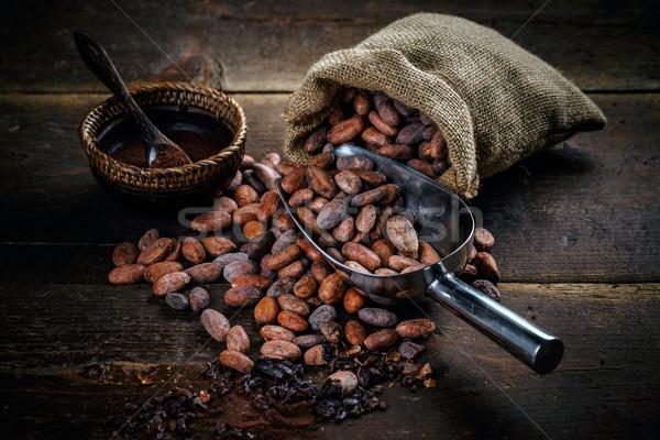 Foto stock: Pó · tigela · chocolate · vintage