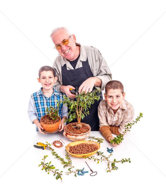 Senior man with his grandchildren Stock photo © grafvision