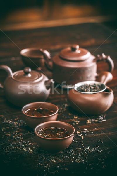 китайский чай церемония Vintage деревянный стол листьев Сток-фото © grafvision