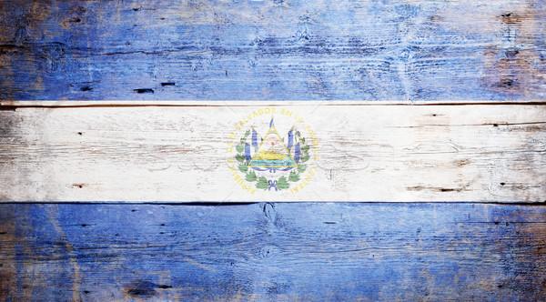 Bandeira El Salvador pintado sujo madeira Foto stock © grafvision
