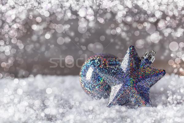 Azul Navidad decoración nieve luz Foto stock © grafvision