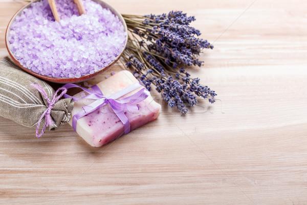 Handgemaakt zeep lavendel bloemen gezondheid Stockfoto © grafvision