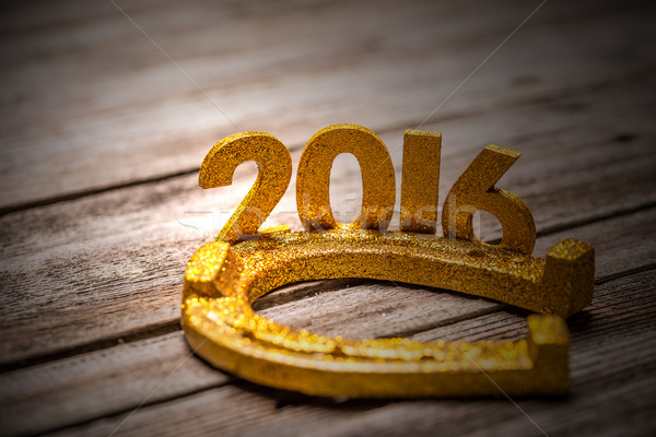 2016 yıl altın at nalı ahşap mutlu Stok fotoğraf © grafvision