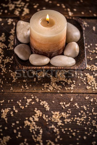 Terapi ahşap vücut arka plan masaj taş Stok fotoğraf © grafvision