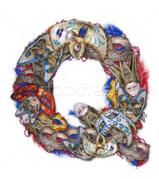 буква q карнавальных маске Перу фон знак Сток-фото © grafvision