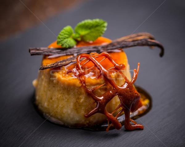 Foto stock: Caramelo · sobremesa · delicioso · preto · bolo · restaurante