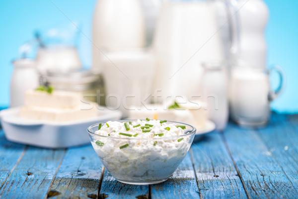 Süzme peynir cam çanak gıda mavi Stok fotoğraf © grafvision