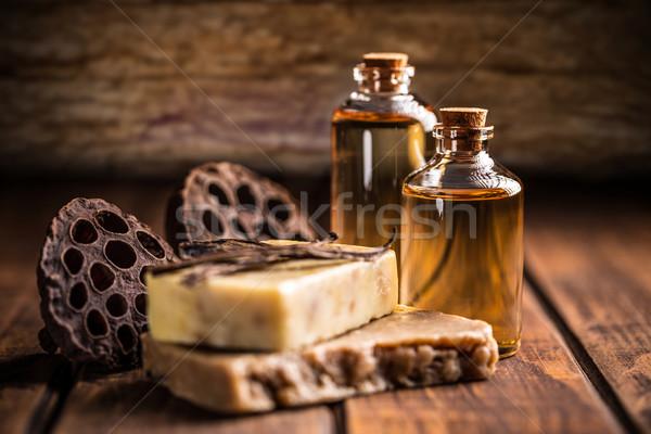 Bar naturale sapone vaniglia oli essenziali corpo Foto d'archivio © grafvision