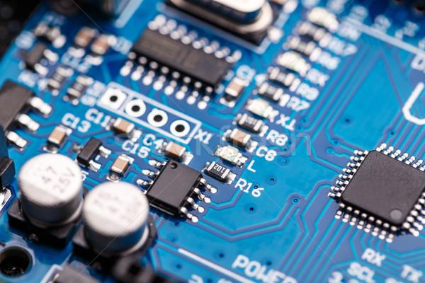 Mikroprocesszor kék nyáklap képviselő magas tech Stock fotó © grafvision