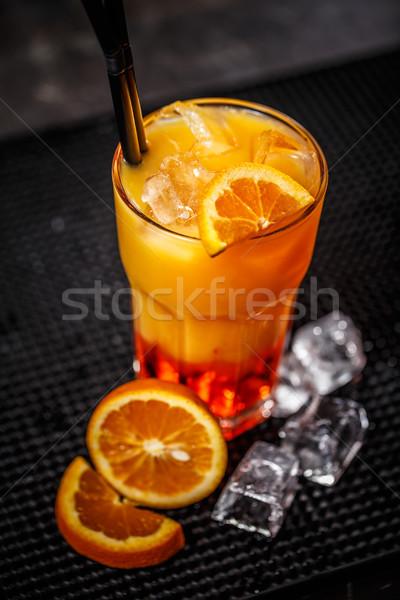 Mango likier sok pomarańczowy serwowane pomarańczowy plasterka kostkę lodu Zdjęcia stock © grafvision