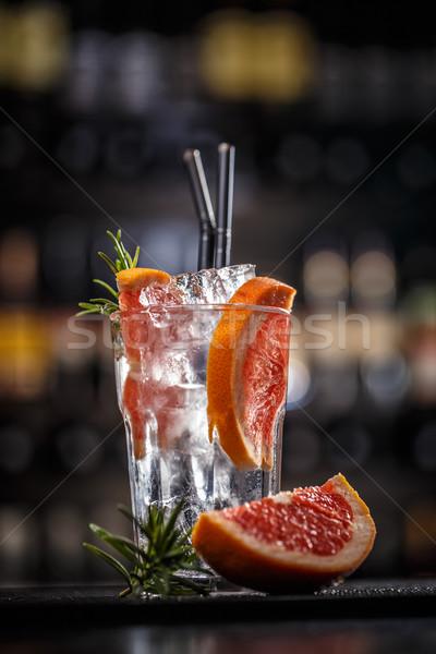 Grejpfrut rozmaryn koktajl pić kostkę lodu Zdjęcia stock © grafvision