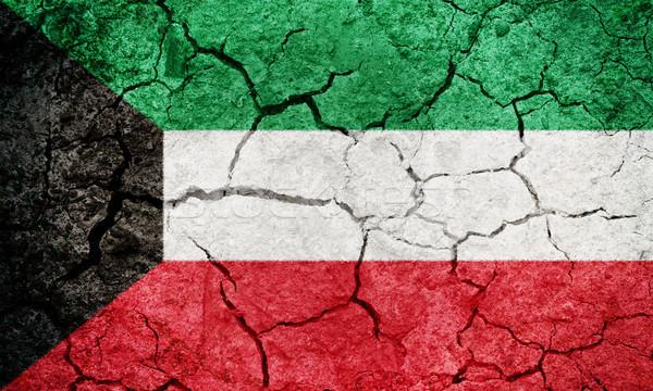 Kuweit bandeira secar terra terreno textura Foto stock © grafvision