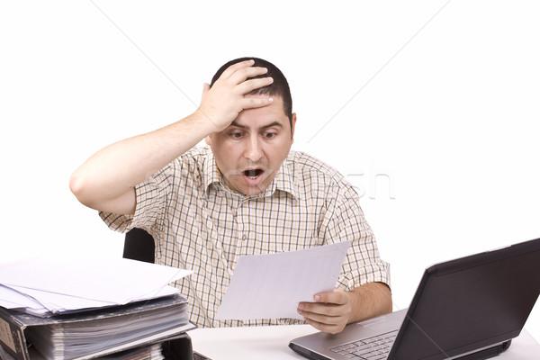 Adam ofis kötü gün çalışmak yalıtılmış Stok fotoğraf © grafvision