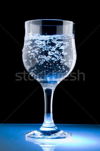 Víz üveg tiszta víz fekete koktél buborékok Stock fotó © grafvision