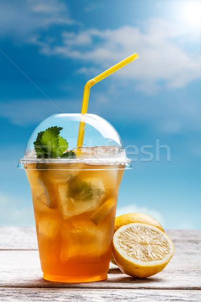 Limon buzlu çay plastik cam mavi içmek Stok fotoğraf © grafvision
