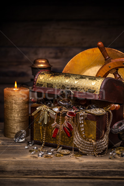 Chest with golden jewelry Stock photo © grafvision
