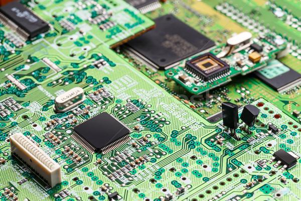 Mikrocsip zöld tábla elektronikus áramkör számítógép Stock fotó © grafvision