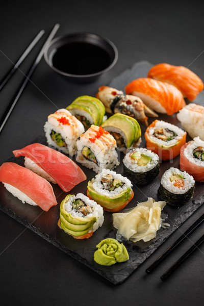 Sushis sashimi noir pierre rouge Photo stock © grafvision