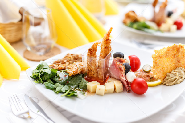 Aperitivos placa boda gamba cóctel alimentos Foto stock © grafvision