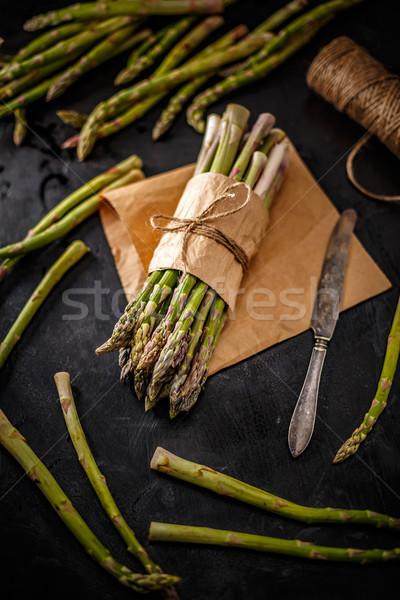 Organikus zöld brunch friss egészséges étel papír Stock fotó © grafvision