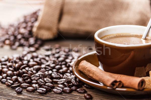 Tazza di caffè fagioli caffè cafe nero Foto d'archivio © grafvision