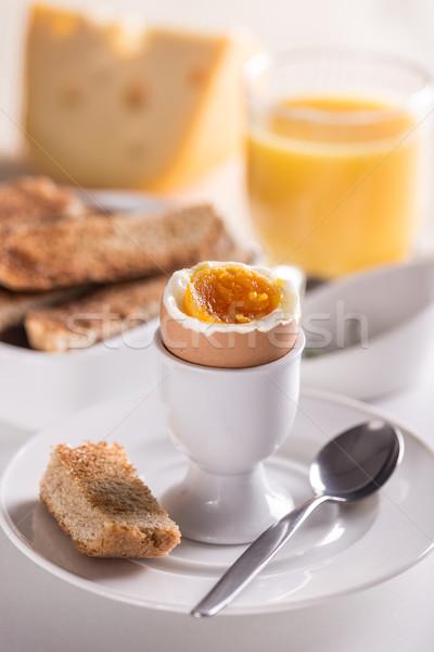 ゆで卵 エッグカップ トースト オレンジ 朝食 壊れた ストックフォト © grafvision