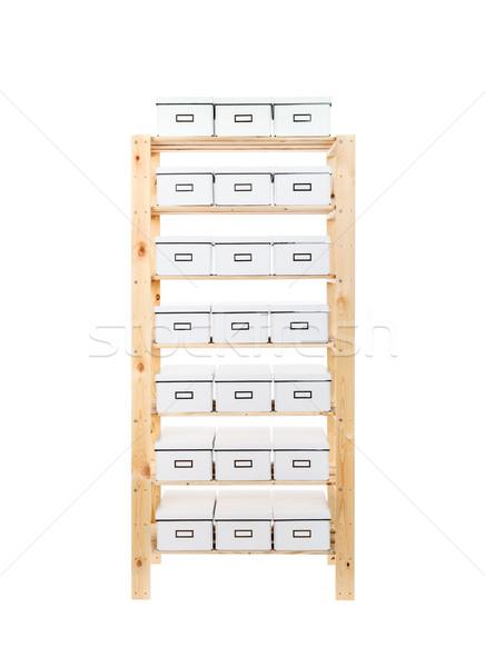 Cardboard boxes on shelves Stock photo © grafvision