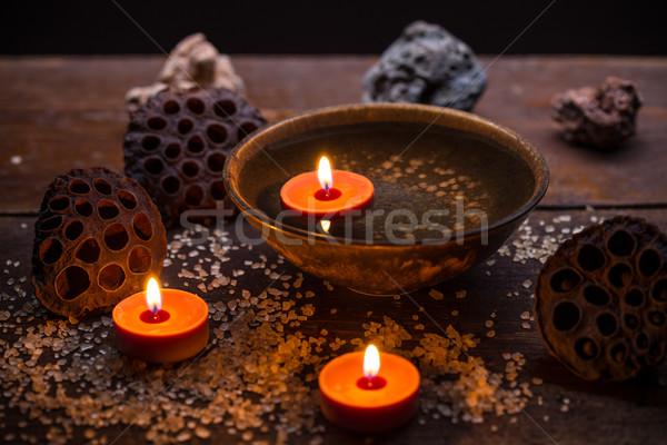 Aromático velas mesa spa fuego salud Foto stock © grafvision