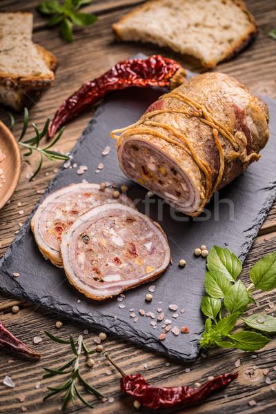 Nadziewany mięsa toczyć deska do krojenia żywności jaj Zdjęcia stock © grafvision