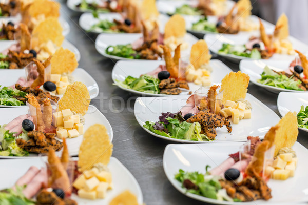 Many plates of appetizers Stock photo © grafvision