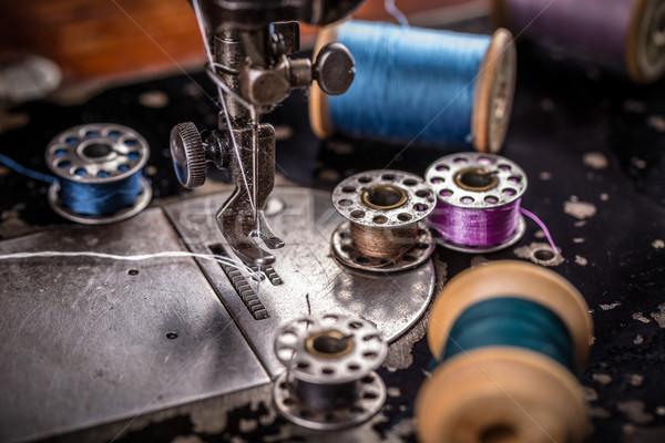Starych maszyny do szycia vintage strony moda pracy Zdjęcia stock © grafvision