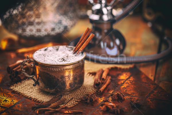 Geleneksel çay baharatlar süt fincan sıcak Stok fotoğraf © grafvision