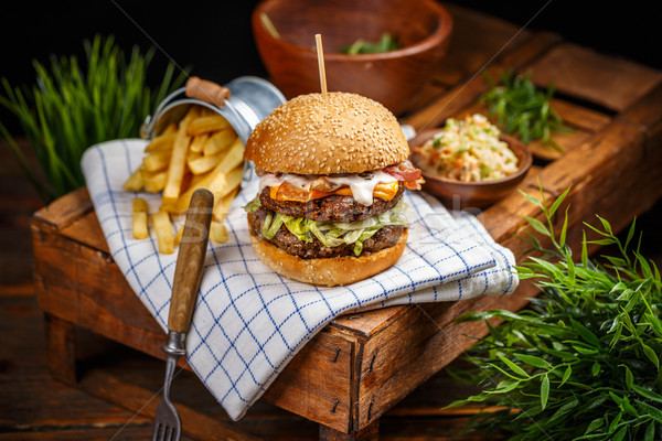 Bacon burger with beef patty Stock photo © grafvision