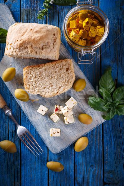 Azeitonas azul queijo oliva Foto stock © grafvision