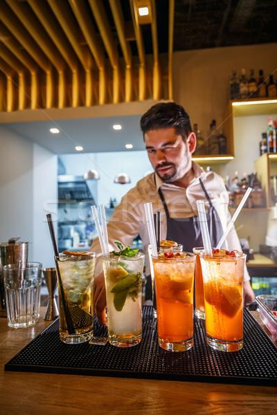 портрет красивый бармен различный коктейли Бар Сток-фото © grafvision